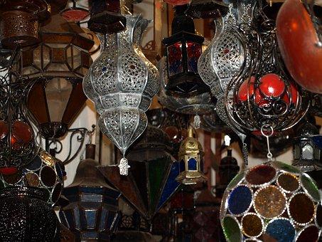 Morocco, Lamp, Lamps, Market, Light, Decoration