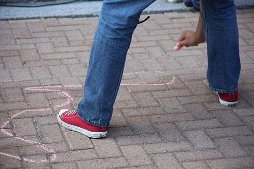 Chalk, Outline, Street, Man, Human, Drawing, Sketch