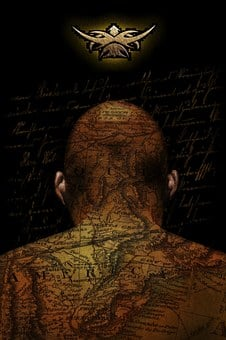Bald, Head, Body, Tattoo, Mystic, Surreal, Map, Person