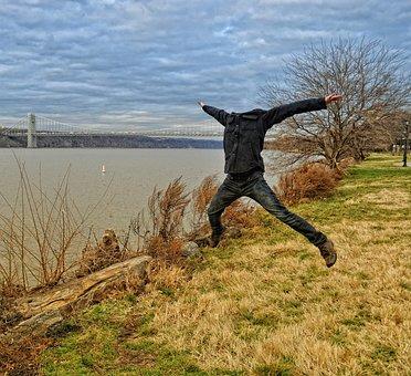 Headless, Man, Person, Jump, Jumping, Happy, Fun