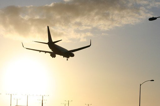 Landing, Sunset, Lax, Los Angeles, Airport, Plane