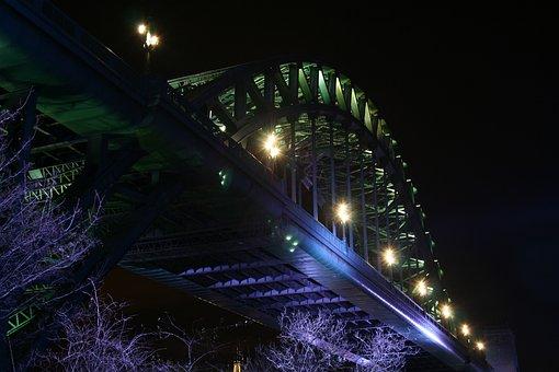 Tyne, Tyne Bridge, Newcastle, High Level Bridge, Night