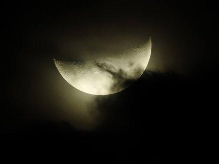 Moon, Full Moon, Clouds, Shadows, Sky, Night, Noria
