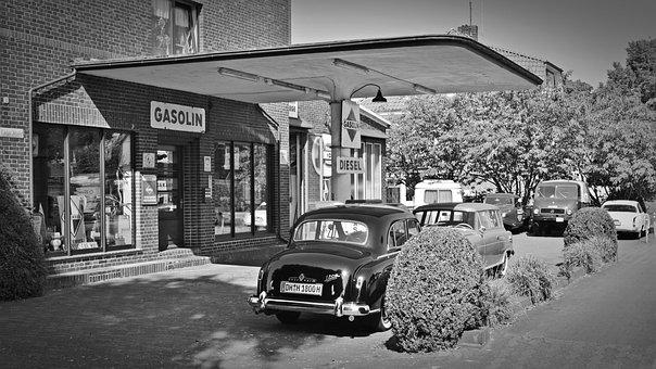 Petrol Stations, Oldtimer, Old Gas Station