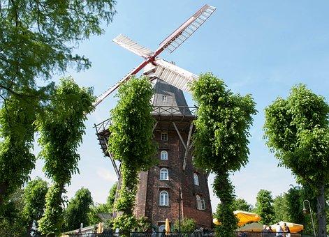 Windmill, Bremen, Wall Windmill, Park, Mill, Old Mill