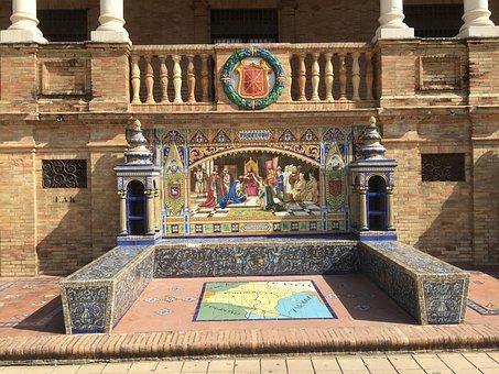 Seville, Plaza De España, Places Of Interest, Space