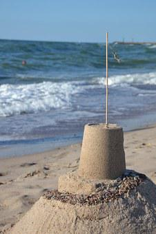Castle, Sand Castle, Sand, His Grandmother, Plantain