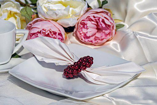 Napkin Ring, Ring, Beads, Ruby Red, Shiny, Napkin