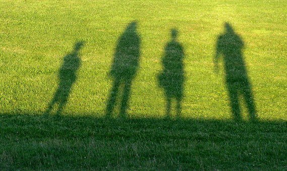 Travel, Family, Contour, Shadow, Man, Woman, Child