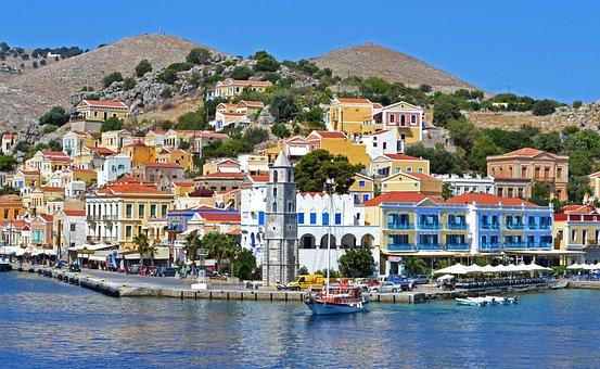 City, Mountains, Chapel, Greece, Simi, Sea, Quay