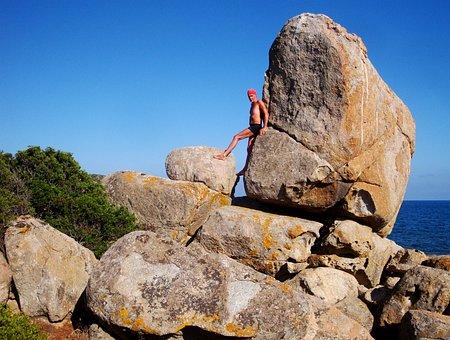 Stone, Sea, Rock, Man, Coast, Water, Ocean