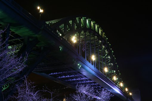 Tyne, Tyne Bridge, Newcastle, High Level Bridge, Night