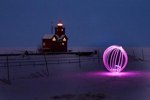 Orb, Long Exposure, Lights, Night, Lighthouse, Winter