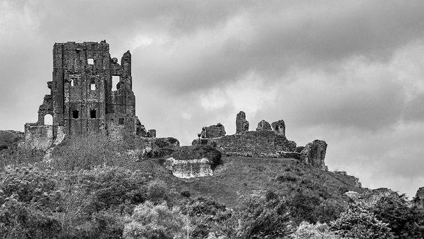 Castle, Corfe Castle, Corfe, Dorset, England, Old