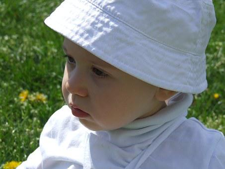 Face, Child, Small, Skin, Baby, White Cap, Hat