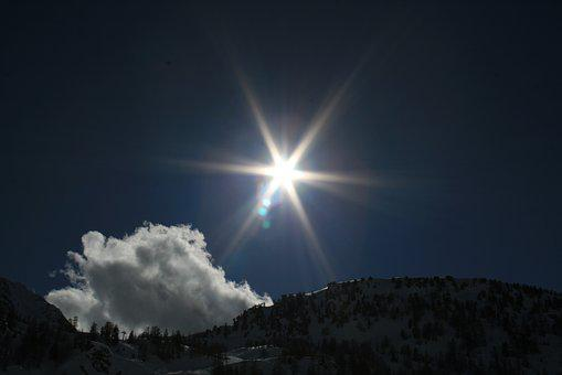Sun, Clouds, Against The Light, Mountains, Landscape