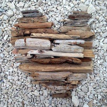 Wood, Heart, Waste, Demolition, Beach, Creative