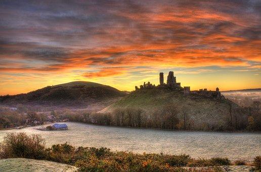 Corfe, Castle, England, Sunset, Mist, Landscape, Dorset