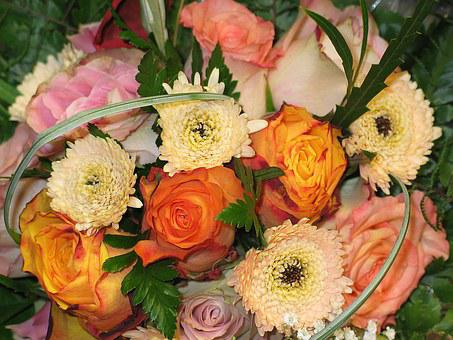 Bouquet, Give, Flowers On Table, Give Pleasure, Flowers