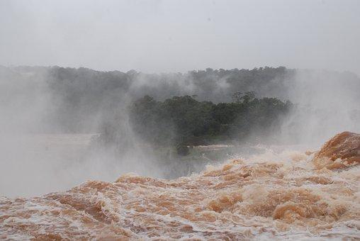 Waterfall, Churning, Tumultuous, Mist, Rough, Water