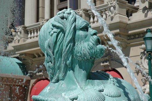 Neptune, Statue, Fountain, Running Water, Water