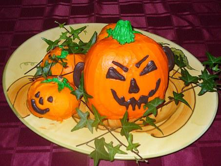 Pumpkin Cake, Orange, Halloween, Seasonal, Pumpkin