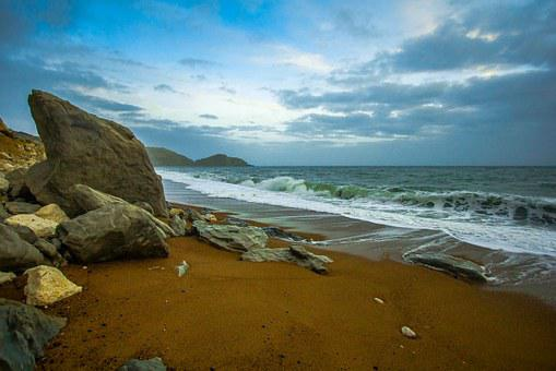 Dorset, Worbarrow Bay, Waves, Ocean, Nature, Seascape