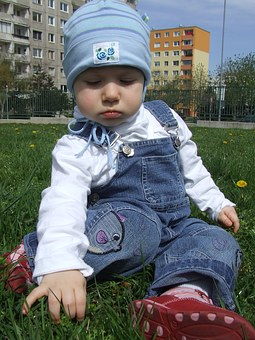 Toddler, Out, On The Grass, Blue Cap, Sit