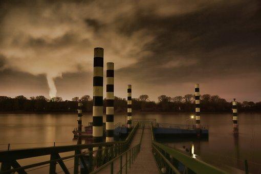 River, Industrial Plant, Chimney, Night, Industry