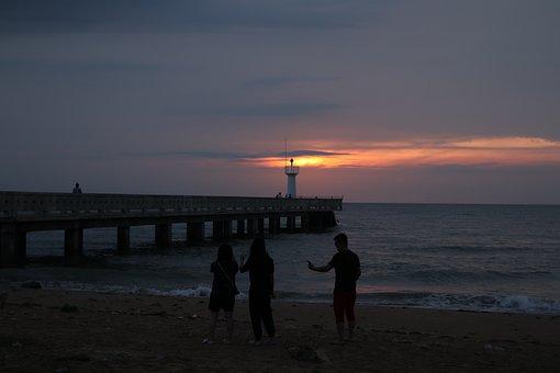 Sea, Sunset, Pier, Lighthouse, Dusk, Evening, Beach