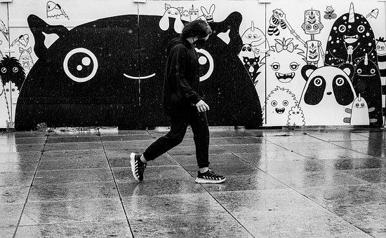 Street Art, City, Raining, Walking, Face Mask, Road