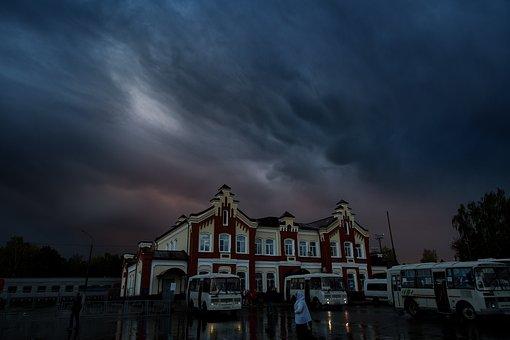 Railway Station, Rain, Night, Train Station, Building