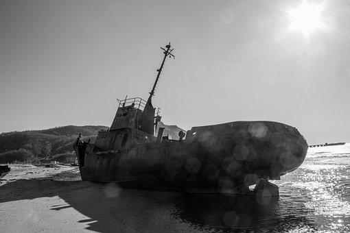 Ship, Vessel, Beach, Shipwreck, Ruins, Sea, Sail, Ocean