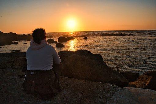 Girl, Meditation, Sunset, Sea, Coast, Relaxation