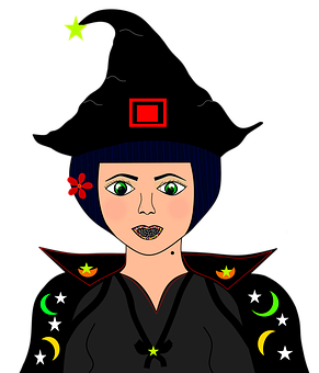 Halloween, Witch, Fantasy, Cutout, Drawing, Sketch