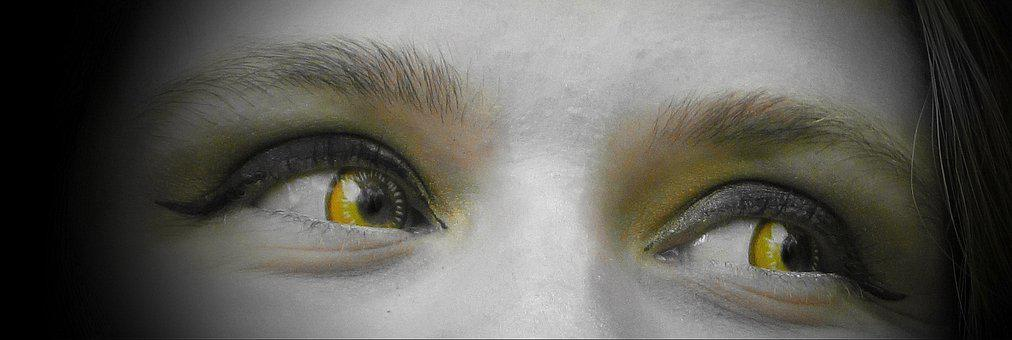 Contact Lenses, Eyes, Woman, Yellow Eyes, Face, Female