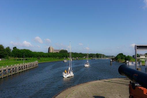 Sea, Coast, Sailing Ship, Lock, Zeeland, Holland