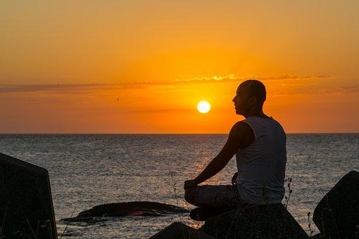 Man, Meditating, Seashore, Sunset, Sea, Uruguay, Coast
