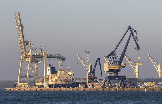 Port, Cranes, Ship, Pier, Sea, Loading, Job, Finland