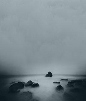 Water, Rocks, Fog, Background, Fantasy, Haunted, Nature
