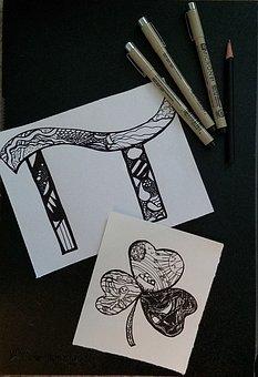 Zentangle, Pens, Drawings, Paper, Zendoodle, Pattern