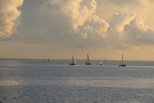 Sailboats, Sea, Sunset, Sailing, Yachts, Boats, Water