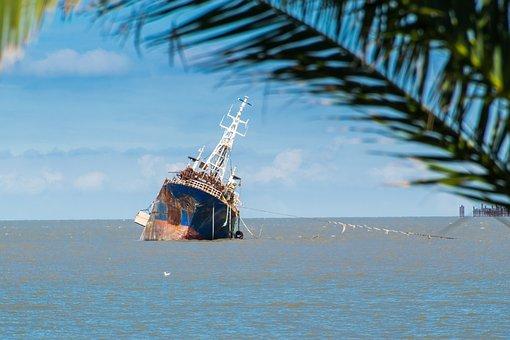 Boat, Pier, Sea, Ocean, Shipwreck, Water, Nature