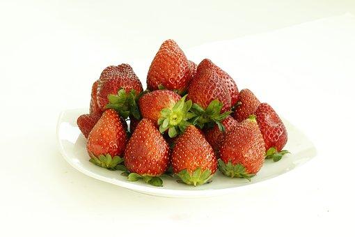 Strawberries, Fruits, Plate, Food, Fresh, Healthy, Ripe