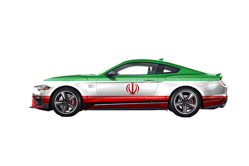 Car, Iran Flag, Vehicle, Ford Mustang, Automobile