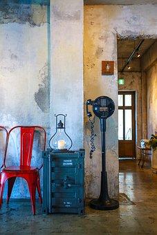 Telephone, Lantern, Vintage, Interior, Chair, Furniture