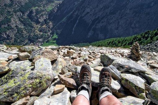 Mountain, Feet, Trekking, Hiking, Rocks, Hiker, Legs