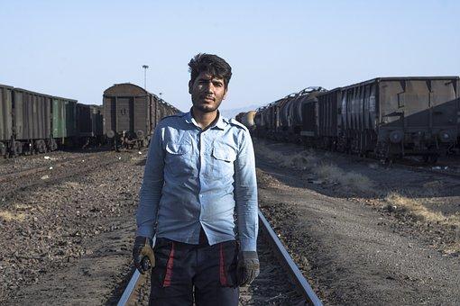 Man, Tracks, Railway, Rail, Locomotive, Iran, Portrait