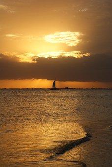 Sunset, Sea, Sailing Boat, Waves, Ocean, Water