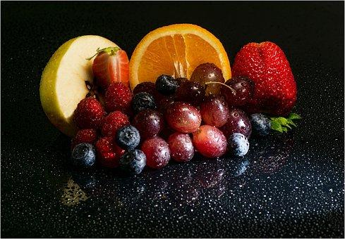 Fruits, Strawberry, Raspberries, Orange, Grapes, Food